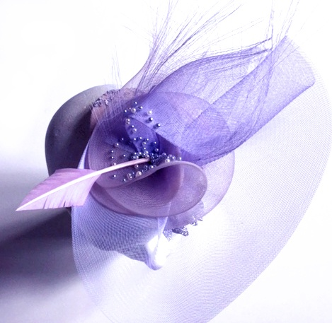 Lilac bridal hat made out of crin