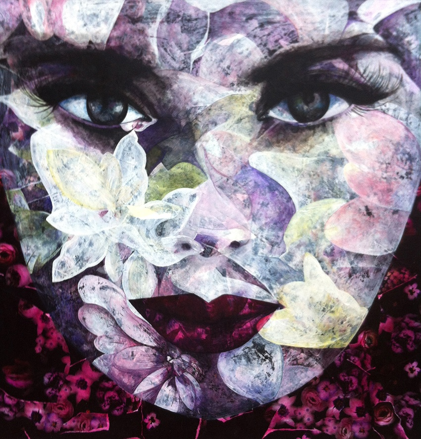 Painting in acrylic paint and mixed media named Girl with the Flowers