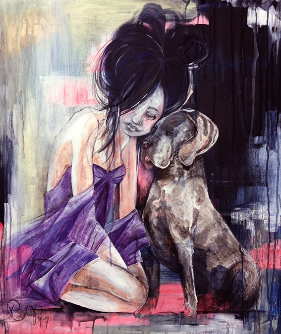 Painting in acrylic paint of a girl with her dog named Intimacy