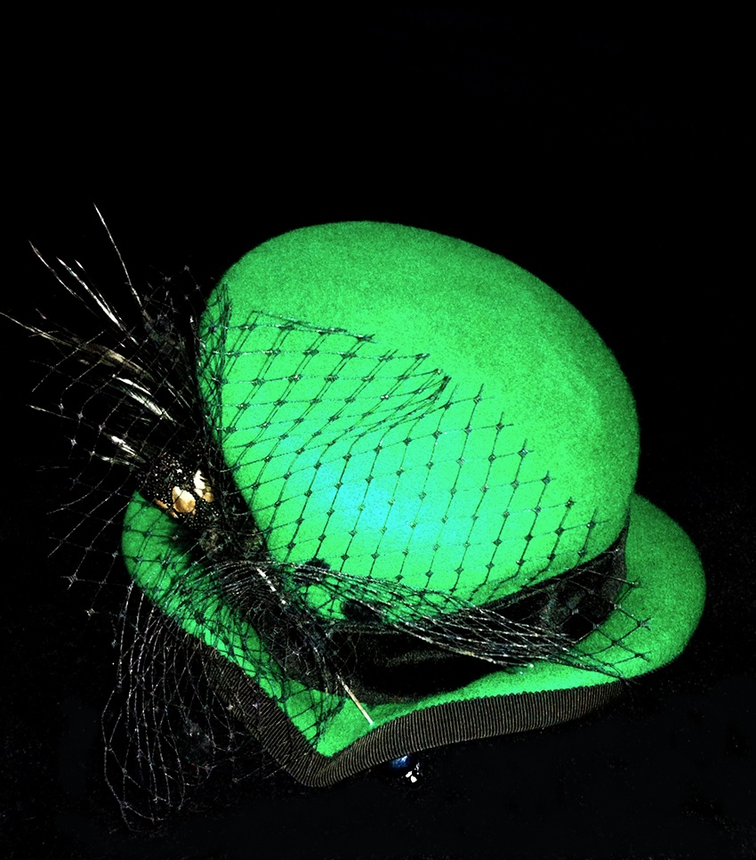 Hat made out of felt named Green Bubble