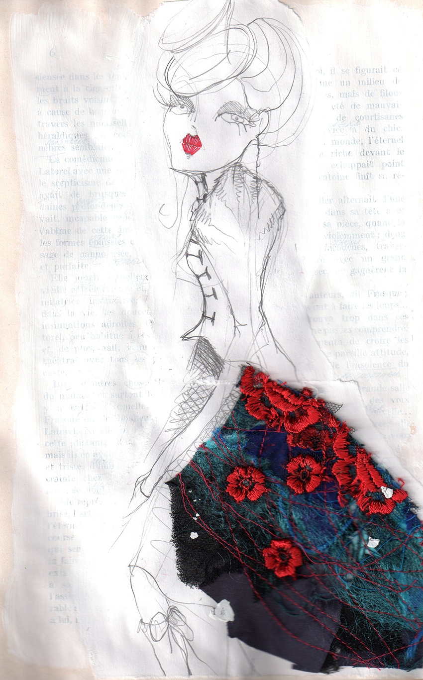 Fashion illustration in pencil and fabric