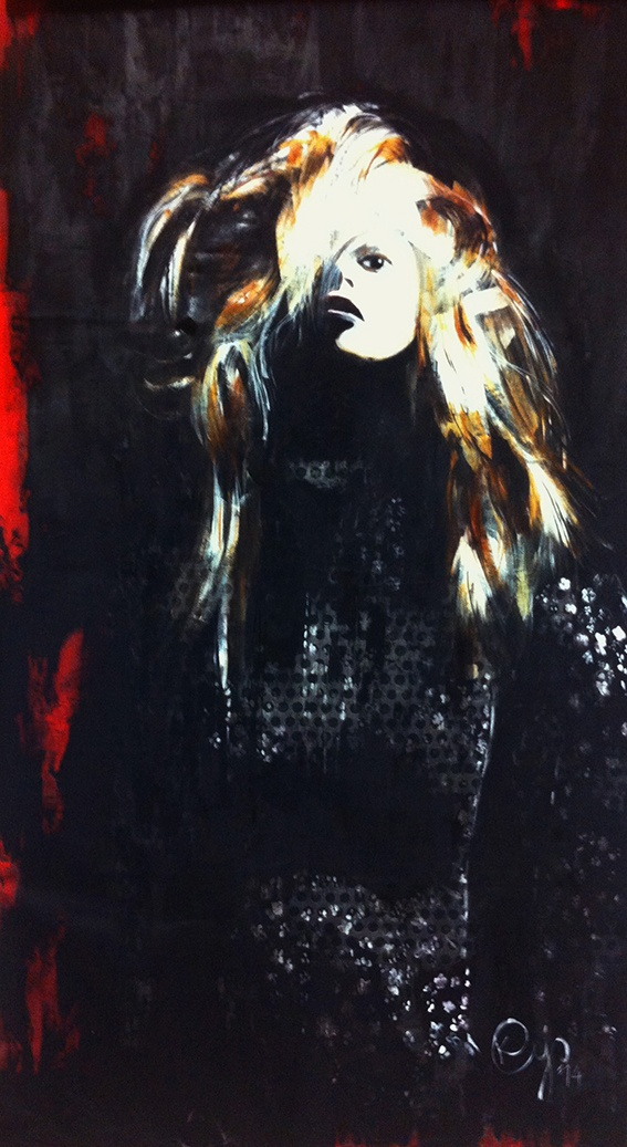 Painting in acrylic paint named Lady in Black