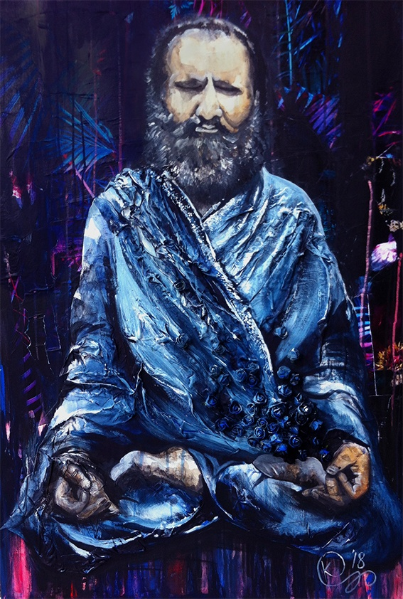 Painting in acrylic paint and mixed media named Meditation