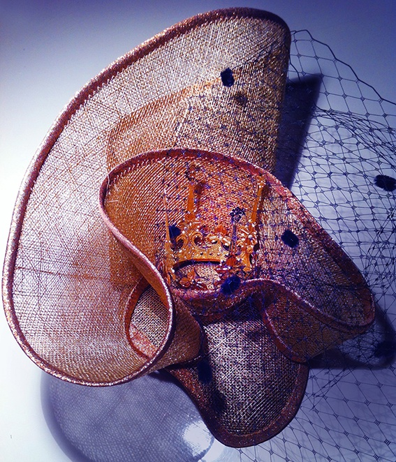 Hat made out of sinamay fabric called Crown Hat