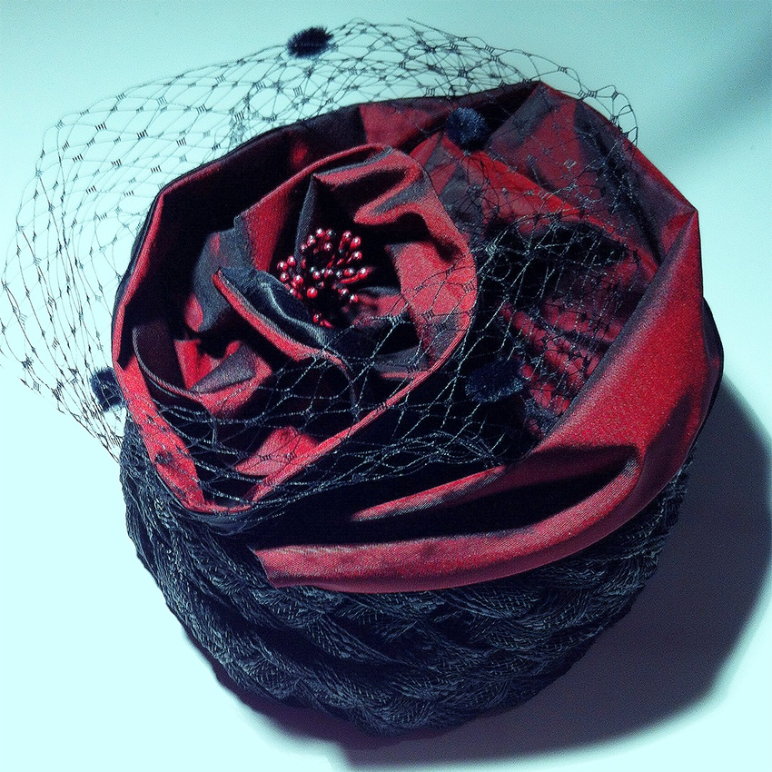 Hat made out of taffeta fabric called Rose Hat