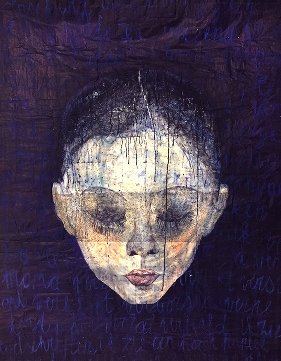 Painting in acrylic on old envelopes named Verscheurd - Torn