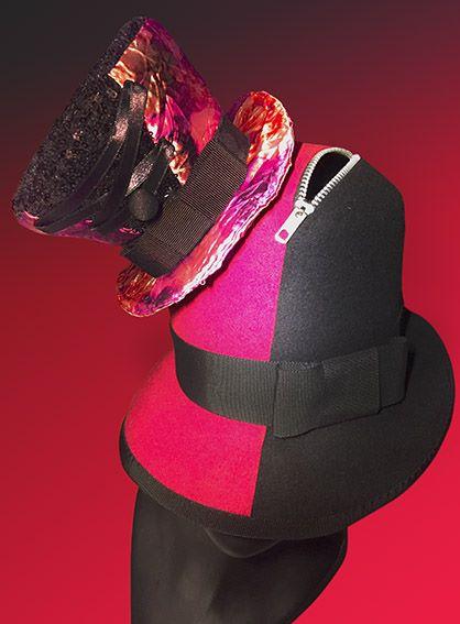felt hat punk black red